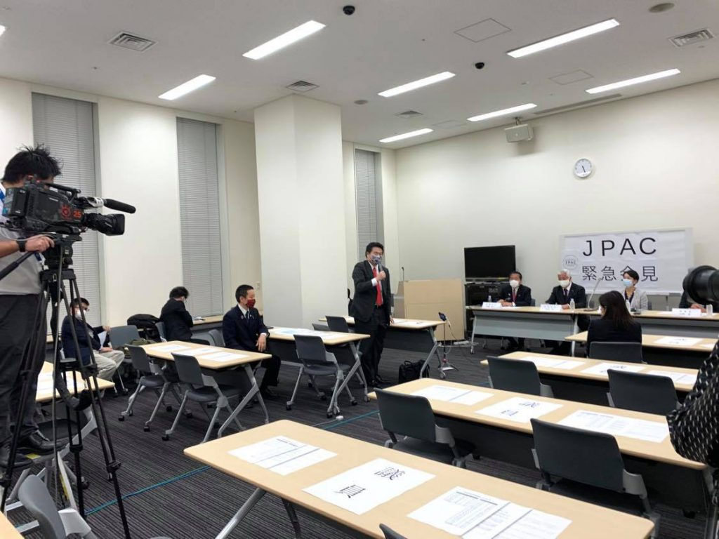 超党派の「対中政策に関する国会議員連盟(JPAC)」による緊急記者会見で発言中