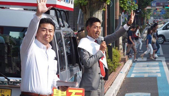 参議院選挙の予定候補者「黒石健太郎」と一緒に岡山駅ビックカメラ前とイオンモール前でそれぞれ街頭演説