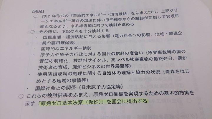 3月12日の民進党大会にて蓮舫代表が表明する「民進党のエネルギー政策(当面の論点メモ)」について