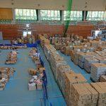 真備総合公園にある支援物資配布センターを訪ねました。