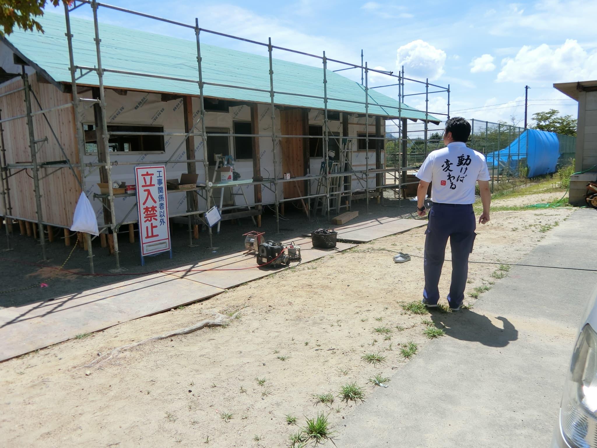 総社市で着工が始まった仮設住宅の建設現場を見てきました。