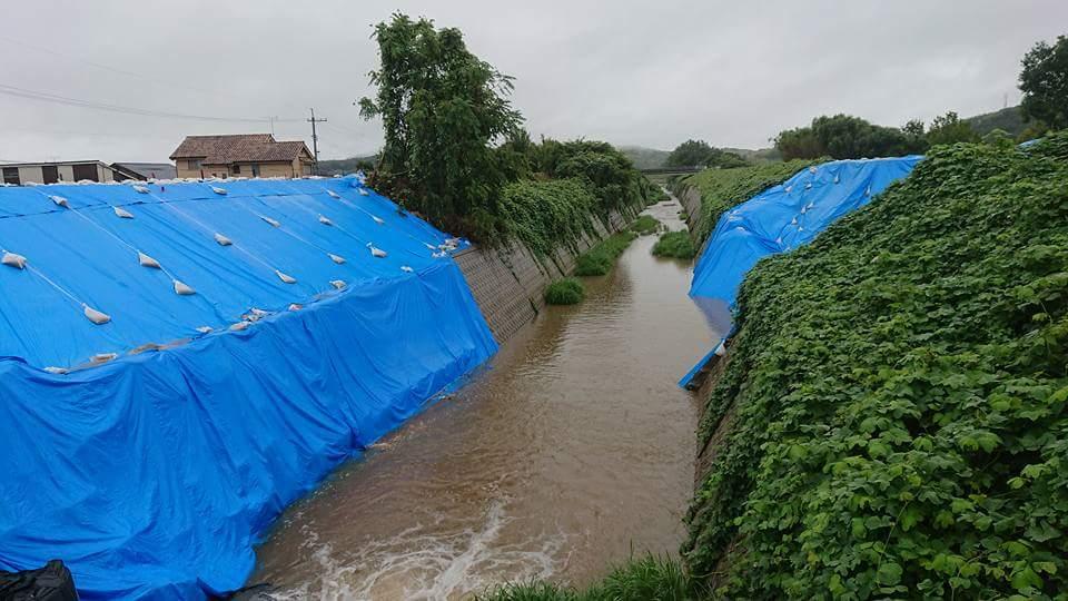 大雨警報発令中の倉敷市真備町に来ています。