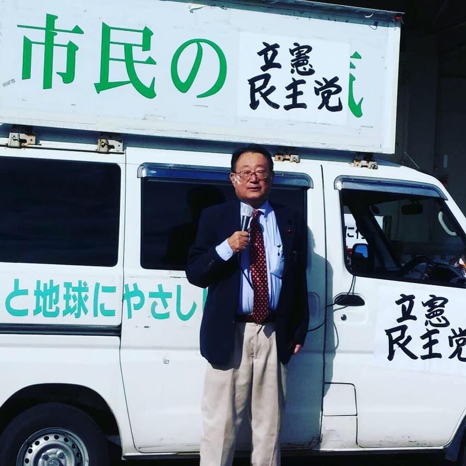 羽場頼三郎岡山市議会議員候補(南区)の応援に。
