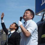 本日は,原田ケンスケ 参議院選挙予定候補者と岡山市中心部を街宣。