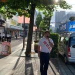 今朝の朝街頭は岡山駅マツキヨ前