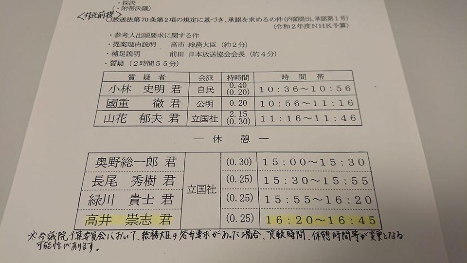 衆議院総務委員会「NHK来年度予算案」審議にて質問します