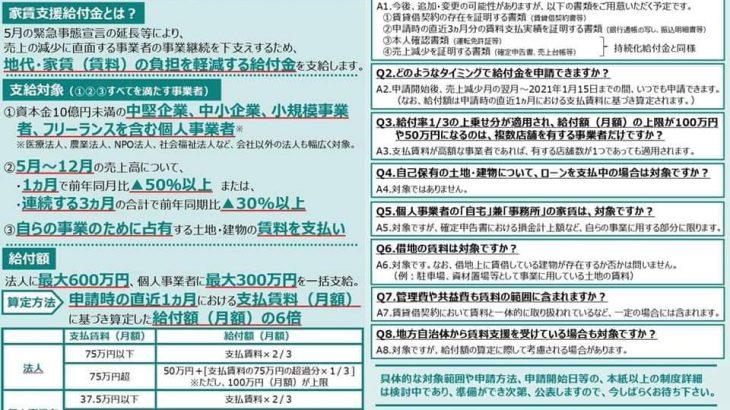 家賃支援給付金【続報】(新型コロナ対策その23)